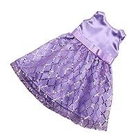 Baoblaze 18インチアメリカガールドール人形のため スパンコール ノースリーブドレス スカート 服 全4色 - 紫