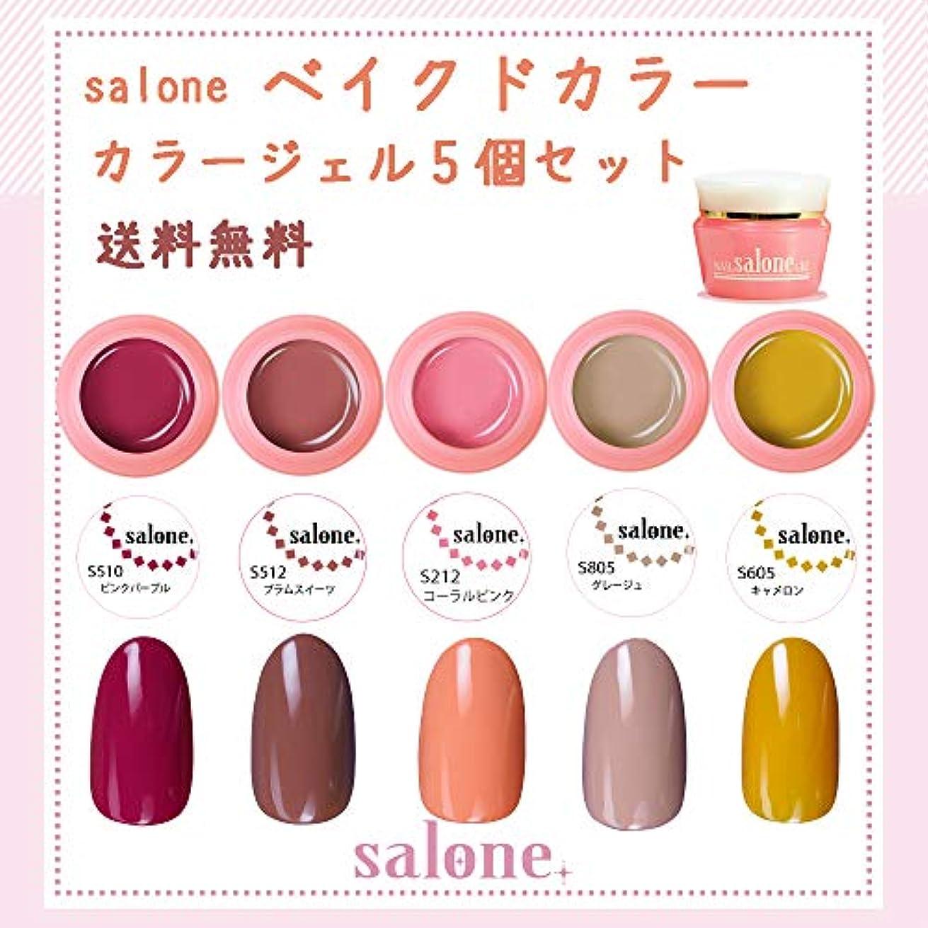 明らか費用圧力【送料無料 日本製】Salone ベイクドカラージェル5個セット 大人っぽく暖かく大人可愛いトレンドカラー