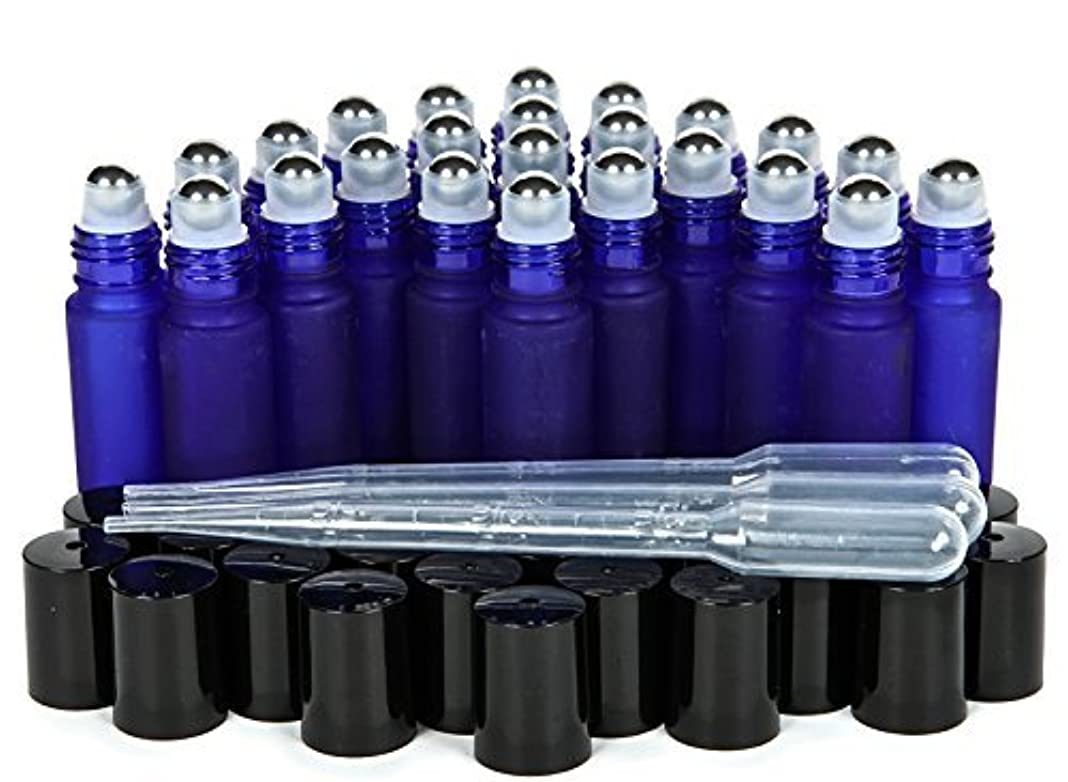 なぜならアライメントリア王Vivaplex, 24, Frosted, Cobalt Blue, 10 ml Glass Roll-on Bottles with Stainless Steel Roller Balls. 3-3 ml Droppers...