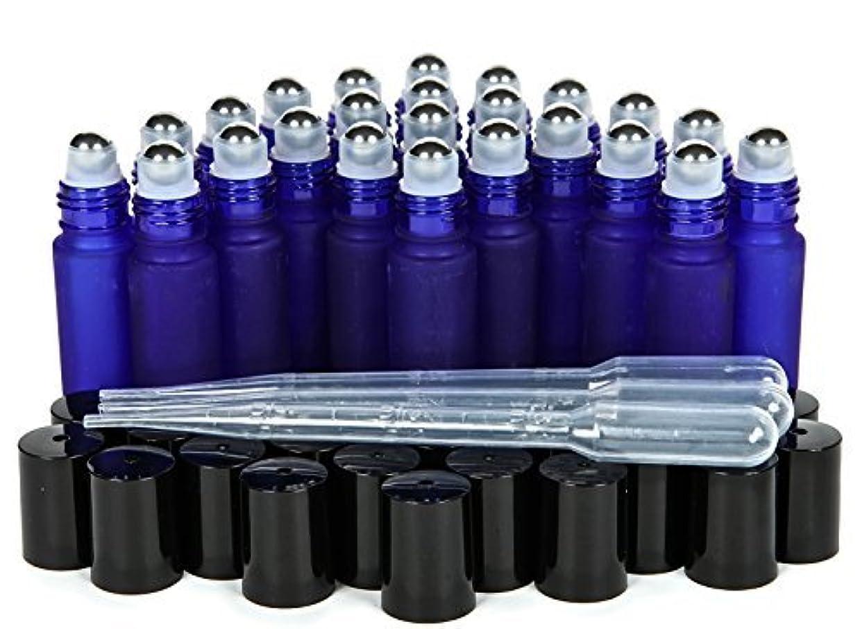 配当はっきりと添付Vivaplex, 24, Frosted, Cobalt Blue, 10 ml Glass Roll-on Bottles with Stainless Steel Roller Balls. 3-3 ml Droppers...