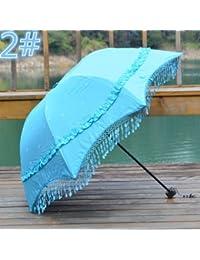ブループリンセスサンシェード傘Three FoldタッセルレースFreshブラックUV太陽傘