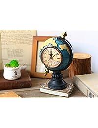 gotor® 置き時計 地球儀型 おしゃれな 目覚まし時計 アンティーク風 部屋装飾 店舗飾り インテリア (ブルー)