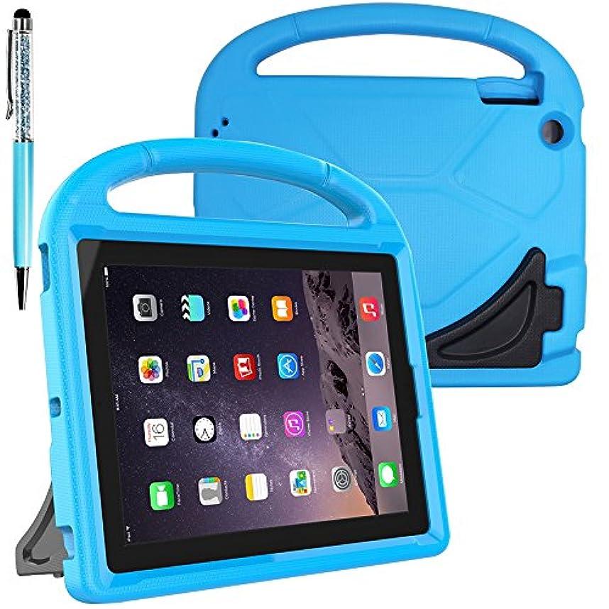 アライアンス趣味ごみ保護子供ケース for 9.7 inch Apple iPad 2 3 4 Tablet、FineGoodスタイラスボールペン付き携帯用ハンドル&スタンド付きコンバーチブル軽量ショックプルーフEVAカバーケース - ブルー