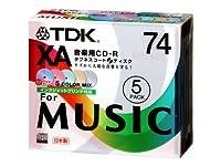 TDK 録音用CD-R XA 74min インクジェットプリンタ対応 5色カラーミックス 5枚パック CD-RXA74CPWX5S