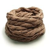 (トライバル)TRIBAL 品良く巻ける 大人カジュアルなスヌード ケーブル編みシンプルニットスヌード ベージュ