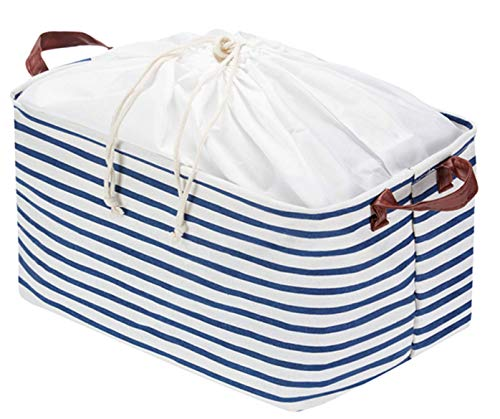 Fabric Storage Basket, Collapsible Storage Bin with Drawstring Cover and PU Handles Gift Baskets for Baby Toys, Kid Toys, Baby Clothing, Books (Transverse Stripe)