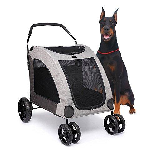 ペットカート 大型犬 中型犬 4輪 耐荷重60kg 大型犬の介護用 犬 お出かけ バギー 通気 前も後ろも網窓 介護 老犬 ペットバギー (グレー)