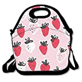 IACC お弁当 Strawberry Neoprene Lunch Picnic Bag Insulated Lunch Box Waterproof Lunch Tote with Zipper Strap for Women Kids Boys Girls and Men