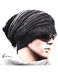 【Hi-Hi-World】 ニット帽 シルエットがきれい メンズ レディース ニットキャップ スノボ などにも (1.ブラック)
