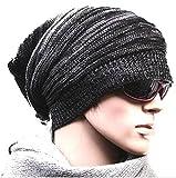 レディース 帽子 【Hi-Hi-World】 ニット帽 シルエットがきれい メンズ レディース ニットキャップ スノボ などにも (1.ブラック)
