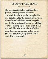 F.スコットフィッツジェラルド - 彼女は美しかった。 - 11 x 14 Unframed Typography本のページ印刷 - 本を愛する人のための素晴らしいギフト