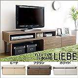 伸縮TV台 テレビボード ブラウン IR-TV-001