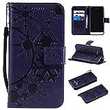 Galaxy J5 2015 ケース CUSKING 手帳型 ケース ストラップ付き かわいい 財布 カバー カードポケット付き Samsung ギャラクシー J5 マジックアレイ ケース - パープル