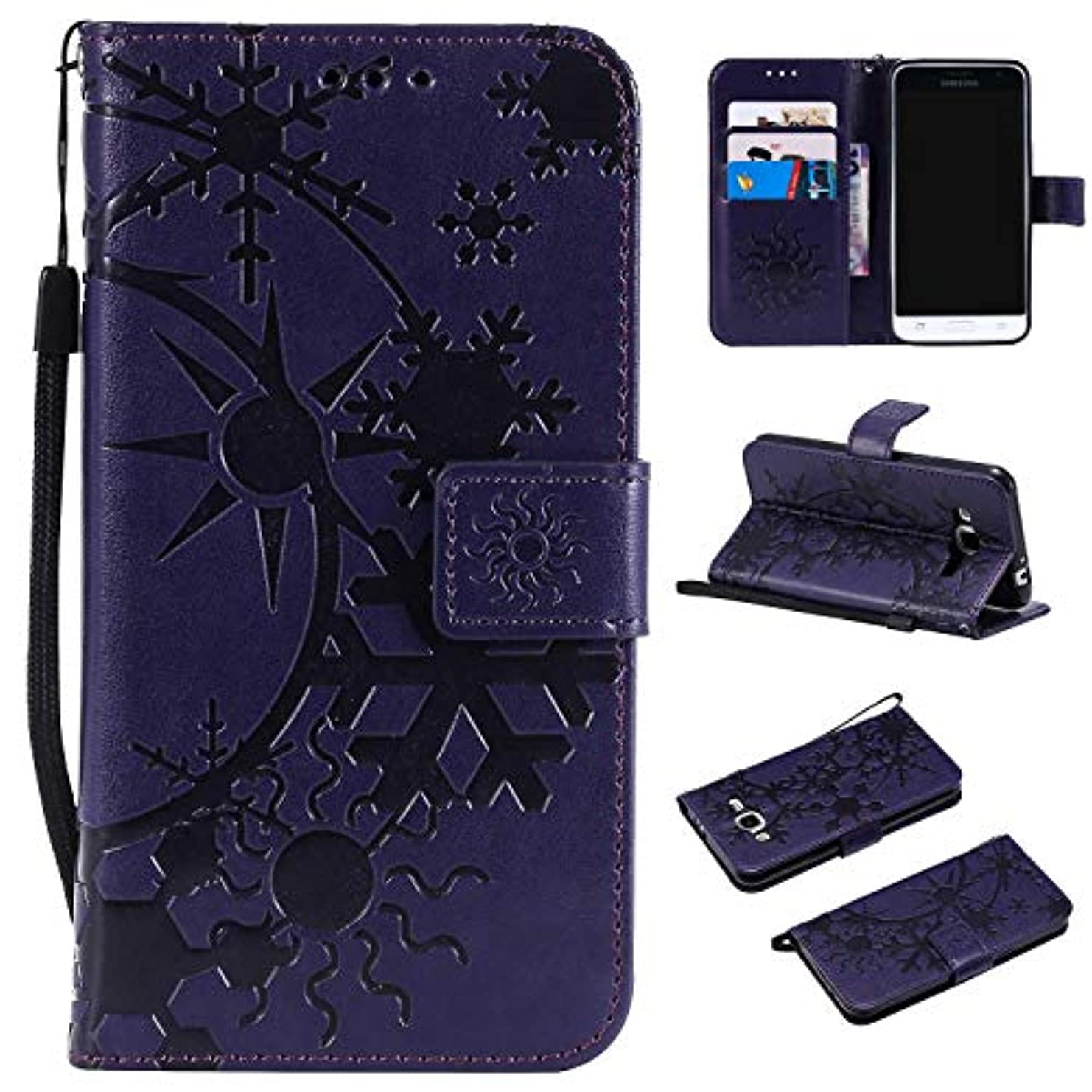 帝国主義考古学的な偶然Galaxy Core Prime ケース CUSKING 手帳型 ケース ストラップ付き かわいい 財布 カバー カードポケット付き Samsung ギャラクシー Core Prime マジックアレイ ケース - パープル