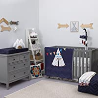 NoJo Teepee Crib Bedding 4 Piece Set Navy Red Ivory [並行輸入品]