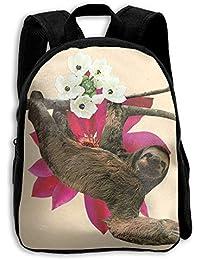 キッズ バックパック 子供用 リュックサック 花と樹懶 ショルダー デイパック アウトドア 男の子 女の子 通学 旅行 遠足
