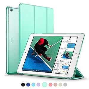 新型 iPad 9.7 2017 ケース ESR 超軽量 極薄 半透明 レザー 三つ折スタンド オートスリープ機能 スマートカバー 新しいApple iPad 9.7インチ 2017最新版専用 全10色(ミントグリーン)