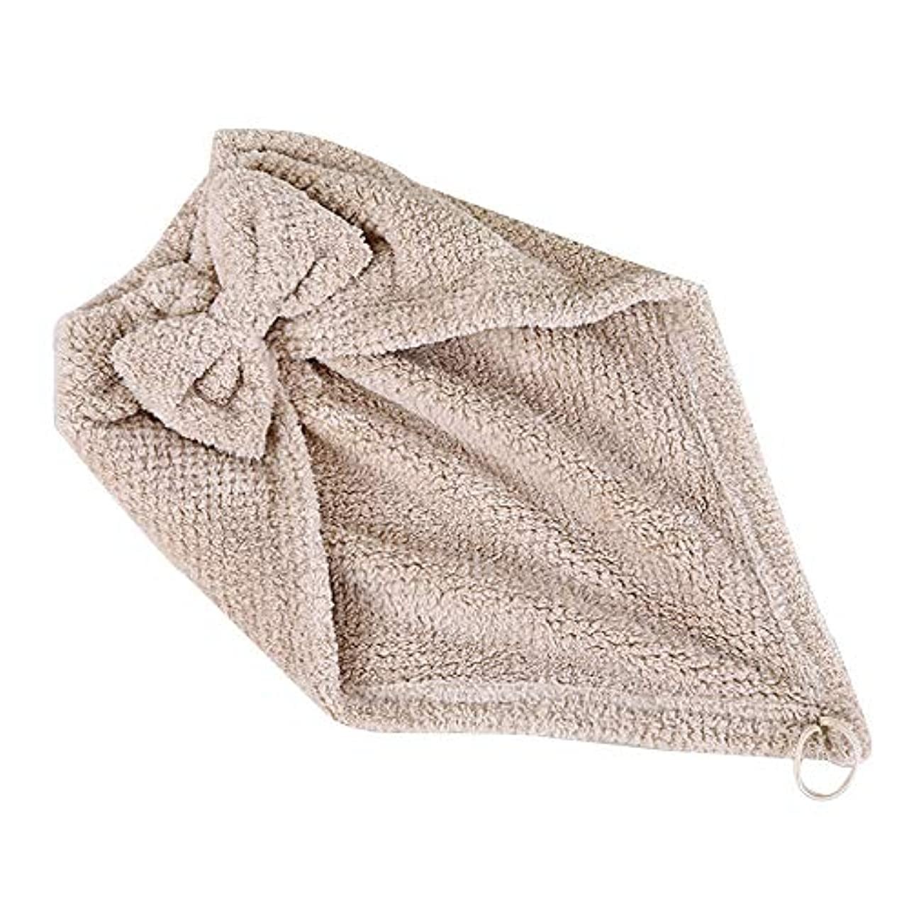 シダ富口径ボコダダ(Vocodada)タオルキャップ ヘアキャップ 吸水 ヘアドライタオル 速乾 マイクロファイバー ヘア 乾燥 タオル 帽子 キャップ 風呂 ふわふわ コーラルフリース 厚い 三角形 46.5*25cm (カーキ)