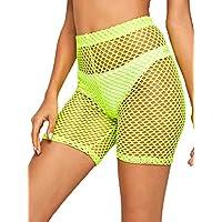 Nihsatin Women's Elastic Fishnet Waisted Booty Shorts See Through Triangle Brief
