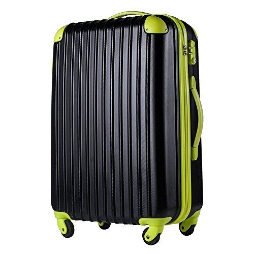 (トラベルハウス)TRAVELHOUSE スーツケース Mサイズ TSAロック搭載 中型 キャリーケース キャリーバッグ T8088 (M, ブラック×グリーン)
