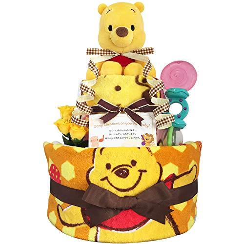 KanonBabys おむつケーキ [ 新生児向け/ディズニー : くまのプーさん / 2段 ] パンパースS22枚 (出産祝いに大人気) ダイパーケーキ ギフト 誕生日プレゼント 赤ちゃんの内祝い にもおすすめ