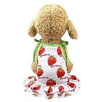 犬服 Hosam 犬 ペット 洋服 ワンピース ドレス トゥトゥ レース 可愛い 春 夏 虫除け 日焼き防ぐ 生理期保護 散歩 (L, イチゴドレス)