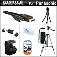 スターターアクセサリーキットfor the Panasonic Lumix DMC - lx7、dmc-lx7K、dmc-lx7W、lx5デジタルカメラはデラックス携帯ケース+ 50三脚with Case + Mini HDMIケーブル+ USB 2.0カードリーダー+スクリーンプロテクター+ミニ卓上三脚+マイクロファイバー布