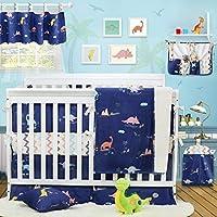 Brandream Dinosaur Crib Bedding with Bumper 100% Cotton Baby Bedding for Boys Blue & Chevron 11 Pieces [並行輸入品]