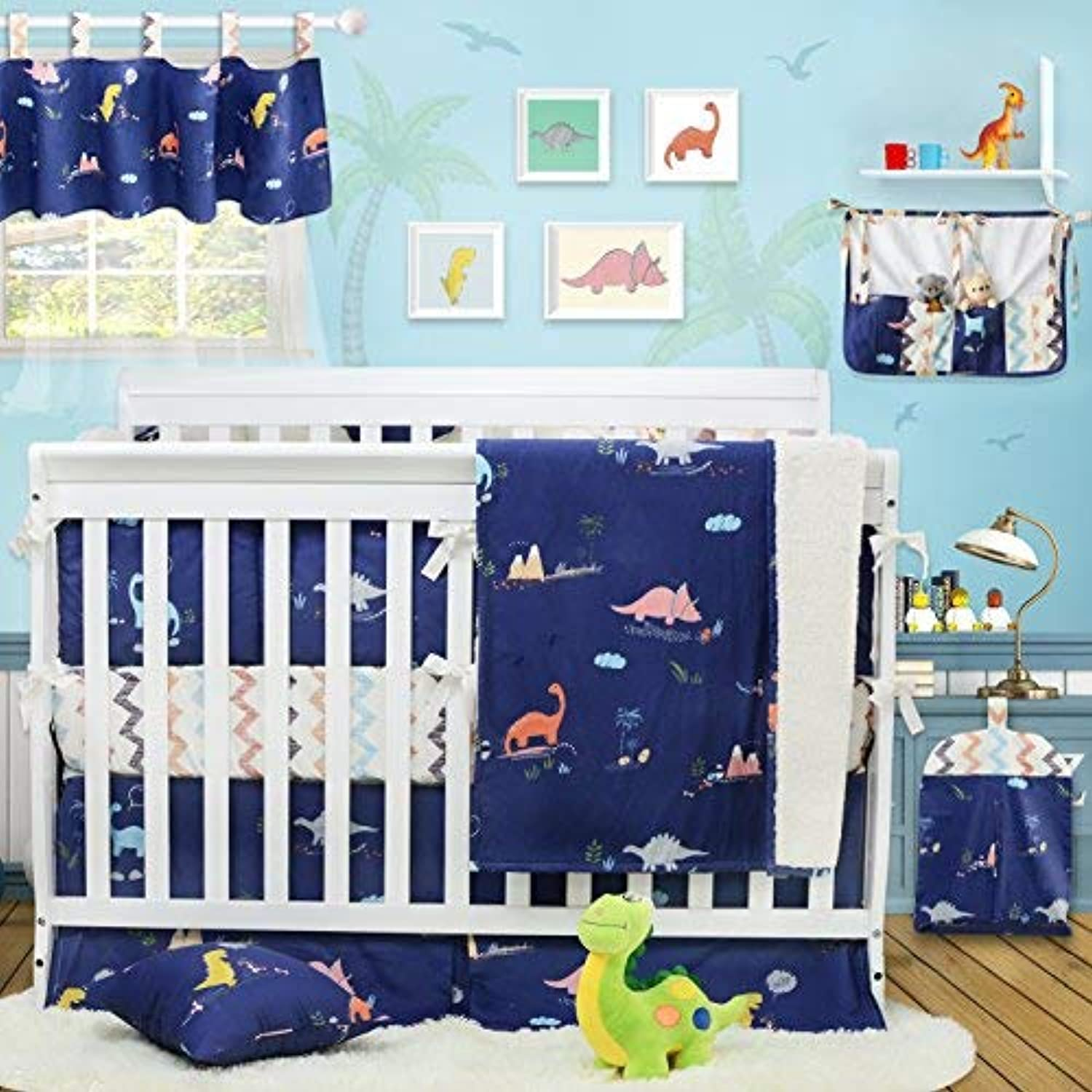 Brandream Dinosaur Crib Bedding with Bumper 100% Cotton Baby Bedding for Boys Blue & Chevron 11 Pieces [並行輸入品]