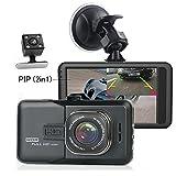 iCamecho 車載ドライブレコーダー デュアルカメラ Car DVR ダッシュカム フルHD1080P ビデオレコーダー ナイトビジョン バックアップカメラ 170 広角 防水レンズ