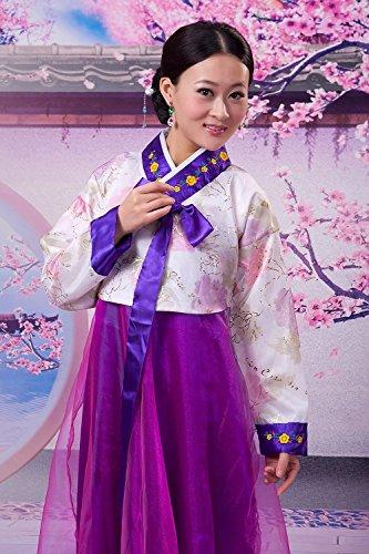 王朝絵巻 ! チマチョゴリ 3点 セット 簪 付き 韓国民族衣装 ドレス コスプレ おしゃれ ファッション レディース 紫
