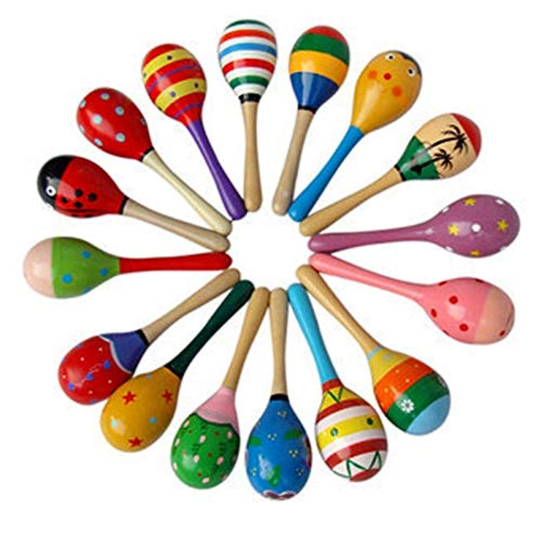 DaKuHo 赤ちゃん用ガラガラと歯固め木製 1個 ベビー木製ボール おもちゃ ベビーラトル サンドハンマー 音楽玩具 楽器 サウンドメーカー 赤ちゃんの魅力 トレーニング おもちゃ ランダムカラー