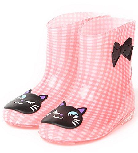 (アールポート) R-port キッズ カラフル アニマル デザイン レインブーツ 長靴 / ピンクチェック 19