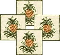 """4x 4"""" Petit Pointコースターセットの4、Colonialパイナップル"""