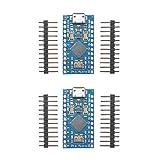 2個セット プロマイクロATmega32U4 5V 16MHz 2列ピンヘッダモジュール交換プロミニATmega328ボードArduinoレオナルド用