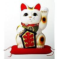 白 大入り招き猫 座布団付 13号 43cm
