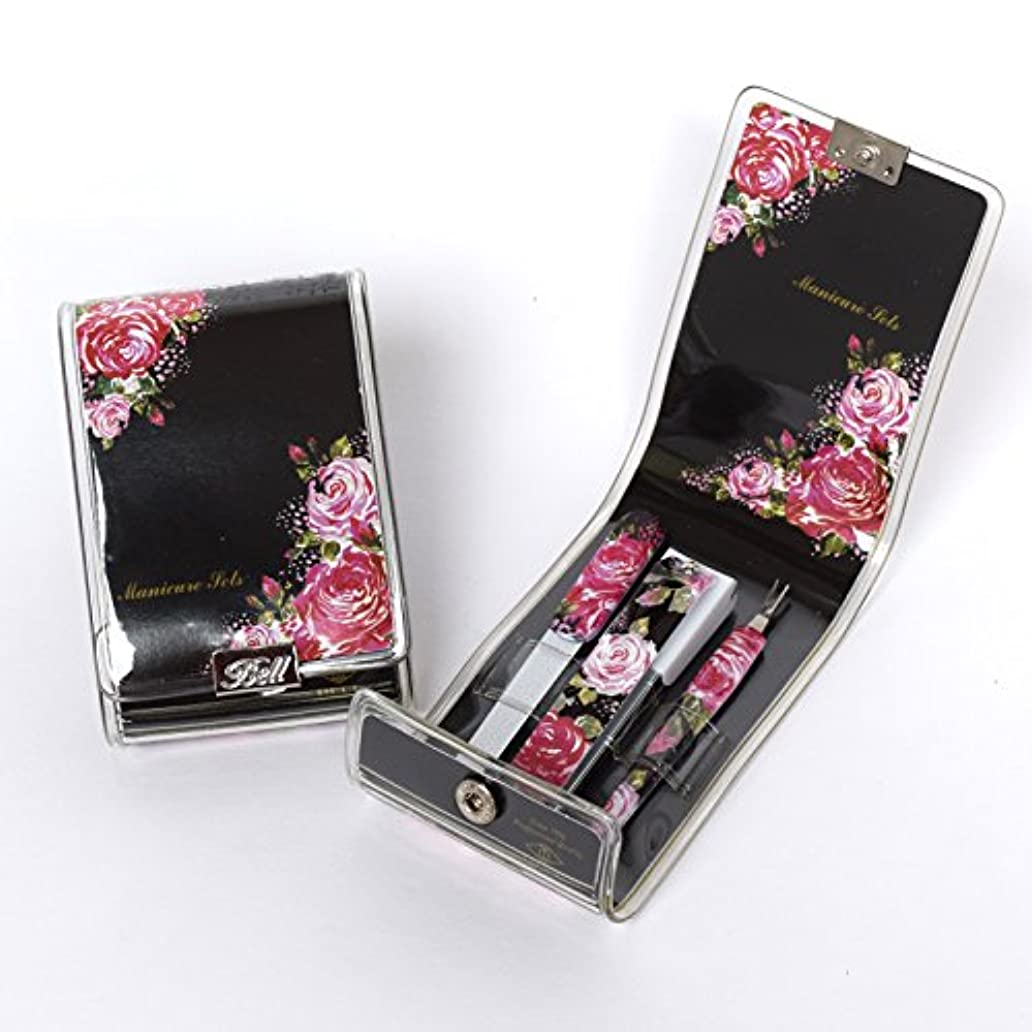 BELL Manicure Sets BM-9952 ポータブル爪ケアセットトラベル爪切りセットステンレス鋼の失速構成花のイラストが挿入された透明高周波ケースPortable Nail Clippers Nail Care...