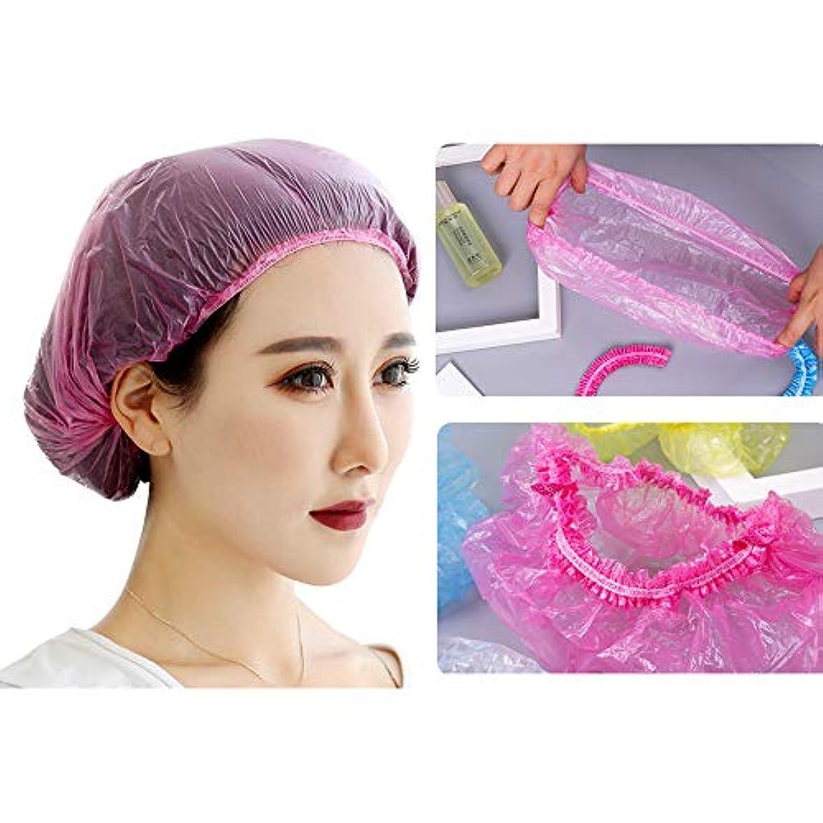 どこにでも聖人同様のWotion シャワーキャップ 使い捨てキャップ ヘアキャップ100枚入 個別包装 髪染め用 ヘアカラー用 サロン用 作業用 男女兼用 (ピンク)