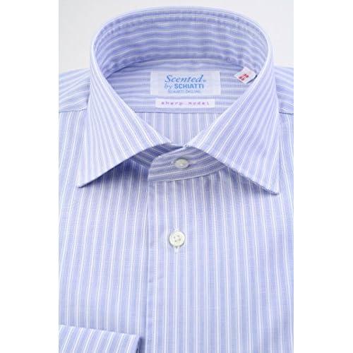 (スキャッティ) Scented ブルー地 白抜き ストライプ 綿100% ワイドカラー (細身) ドレスシャツ wd4147-4386