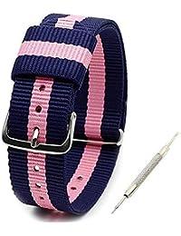 Senwu ストラップ Nato Strap 14mm 16mm 18mm 20mmプレミアムBallisticナイロン時計バンド Nylon Watch Band 時計ストラップ 簡単交換ベルト Watch Strap ステンレスバックル 取り替え工具付 マルチカラー選択 (16mm, 5)