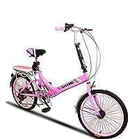 学生折りたたみ自転車, 折りたたみ自転車 女性のサイクリング 超軽量 ポータブル 変数の速度のミニ シマノ 6 速 男性 折り畳み自転車-ピンクC 20inch
