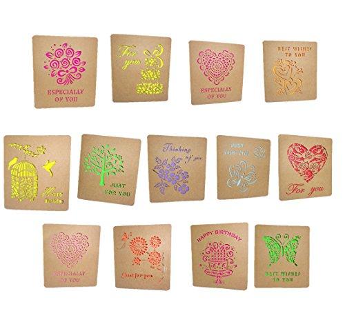 [comoza] メッセージカード 封筒 つき 手紙 便箋 レターセット ミニ きりぬき (マルチカラー)