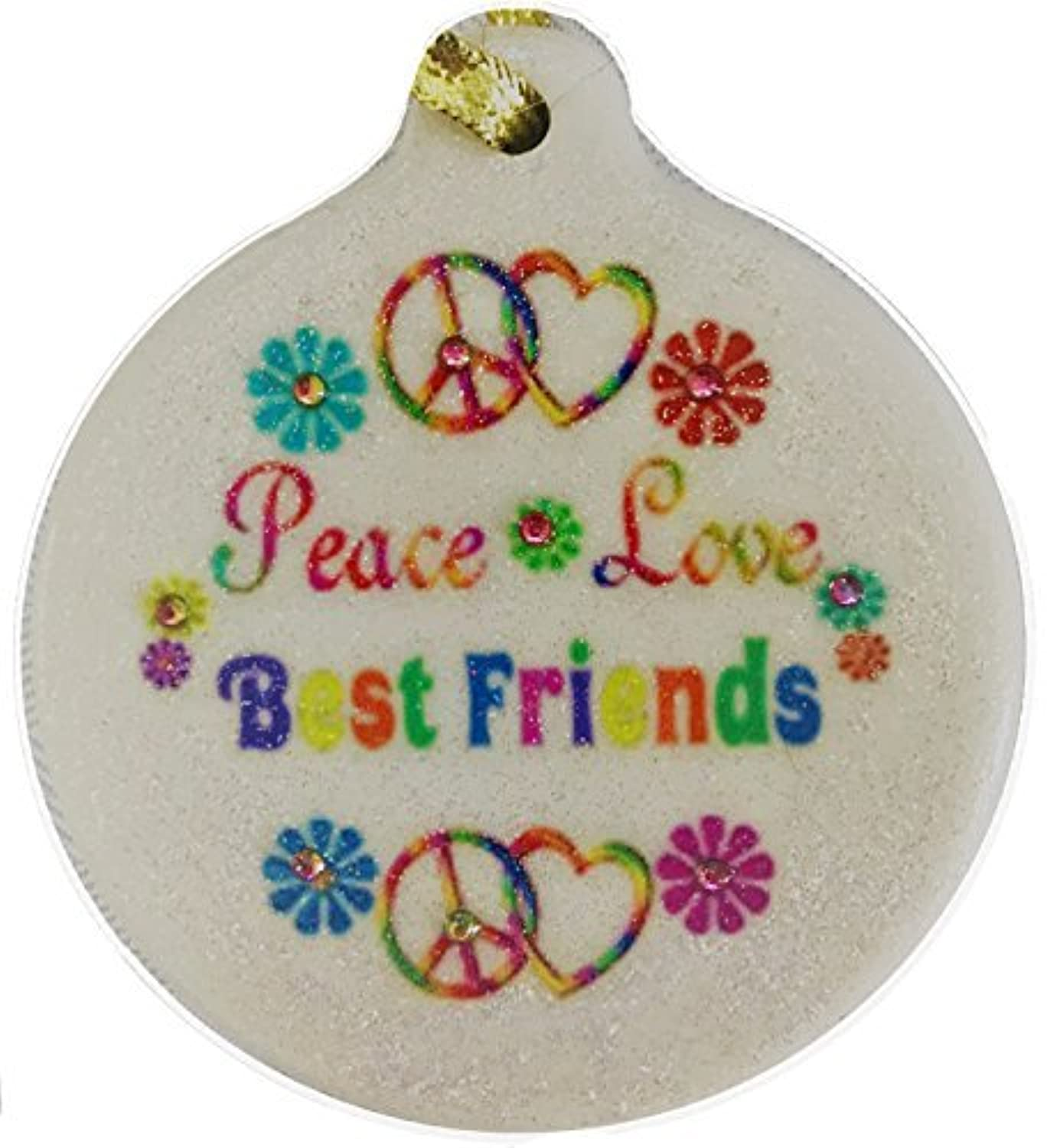 Peace Love Best Friends Porcelain BFF Rhinestone Ornament Boho Hippie Flower Child [並行輸入品]