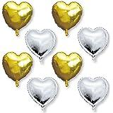 誕生日 飾り付け 風船 飾り バルーン ハート 36cm ハートバルーン ハート型 アルミ 8個 結婚式 バースデー 前撮り (ゴールド×シルバー)