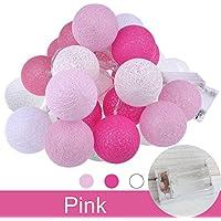 LEDイルミネーションライト ストリングライト バッテリーパワー ボールライト ホームパーティーの装飾 ピンク