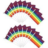 レインボーフェスティバルフラッグ 80枚 レインボーパーティー 装飾バナーフラッグ 手持ちミニスティックフラッグ テーマパーティー用