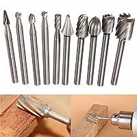 HKUN 10本組 ロータリーヤスリ 6mm シャンク ロータリーバーセット 木工用 超硬バー 木彫り 木工アクセサリ,銀