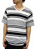 NOTA BENE(ノータベネ) 大きいサイズ メンズ Tシャツ 半袖 ボーダー Vネック ネイビー 4L