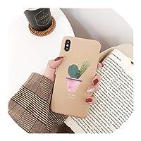 かわいいサボテン鉢植え電話ケースiPhone X XS XR XS MAXマットTPUソフトシェルiPhone 6 6 s 7 8プラスバックカバー、iphone 8プラス、ブラウン