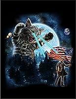 【目からビームを出す猫とアブラハム リンカーンねこ】 余白部分にオリジナルメッセージお入れします!ポストカード・はがき(黒背景)